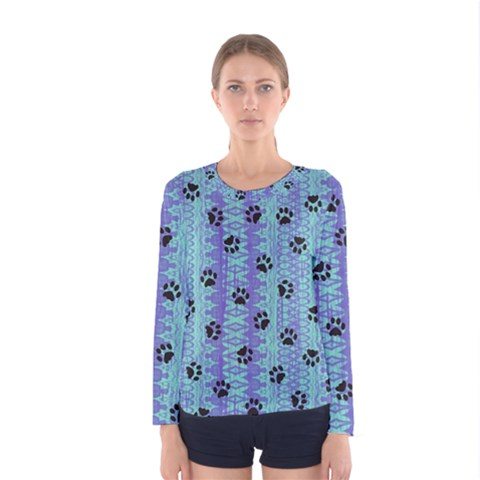 Footprints Cat Black On Batik Pattern Teal Violet Women s Long Sleeve Tee by EDDArt