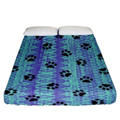 Footprints Cat Black On Batik Pattern Teal Violet Fitted Sheet (queen Size)