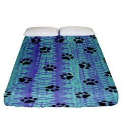 Footprints Cat Black On Batik Pattern Teal Violet Fitted Sheet (king Size) by EDDArt