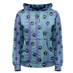 Footprints Cat Black On Batik Pattern Teal Violet Women s Pullover Hoodie