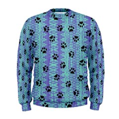 Footprints Cat Black On Batik Pattern Teal Violet Men s Sweatshirt