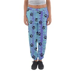 Footprints Cat Black On Batik Pattern Teal Violet Women s Jogger Sweatpants