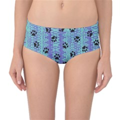 Footprints Cat Black On Batik Pattern Teal Violet Mid Waist Bikini Bottoms by EDDArt