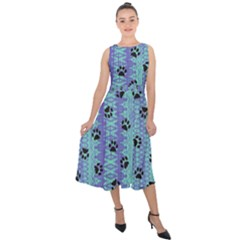 Footprints Cat Black On Batik Pattern Teal Violet Midi Tie-back Chiffon Dress by EDDArt