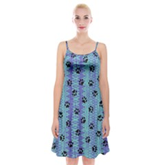 Footprints Cat Black On Batik Pattern Teal Violet Spaghetti Strap Velvet Dress by EDDArt