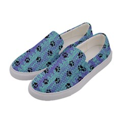 Footprints Cat Black On Batik Pattern Teal Violet Women s Canvas Slip Ons by EDDArt