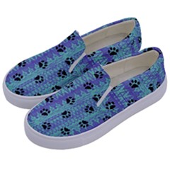 Footprints Cat Black On Batik Pattern Teal Violet Kids  Canvas Slip Ons by EDDArt