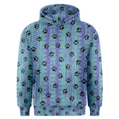 Footprints Cat Black On Batik Pattern Teal Violet Men s Overhead Hoodie by EDDArt