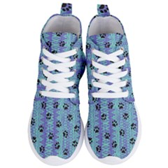Footprints Cat Black On Batik Pattern Teal Violet Women s Lightweight High Top Sneakers by EDDArt