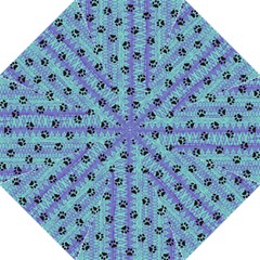 Footprints Cat Black On Batik Pattern Teal Violet Straight Umbrellas by EDDArt