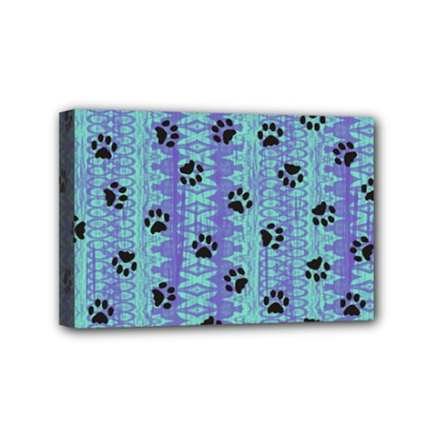 Footprints Cat Black On Batik Pattern Teal Violet Mini Canvas 6  X 4