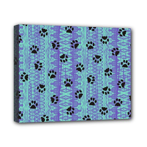 Footprints Cat Black On Batik Pattern Teal Violet Canvas 10  X 8