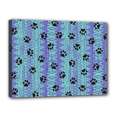 Footprints Cat Black On Batik Pattern Teal Violet Canvas 16  X 12