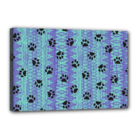 Footprints Cat Black On Batik Pattern Teal Violet Canvas 18  X 12