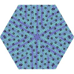 Footprints Cat Black On Batik Pattern Teal Violet Mini Folding Umbrellas