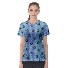 Footprints Cat Black On Batik Pattern Teal Violet Women s Sport Mesh Tee