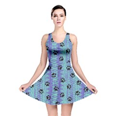 Footprints Cat Black On Batik Pattern Teal Violet Reversible Skater Dress by EDDArt