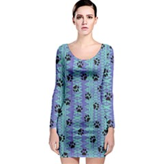 Footprints Cat Black On Batik Pattern Teal Violet Long Sleeve Bodycon Dress