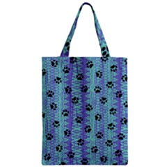 Footprints Cat Black On Batik Pattern Teal Violet Classic Tote Bag