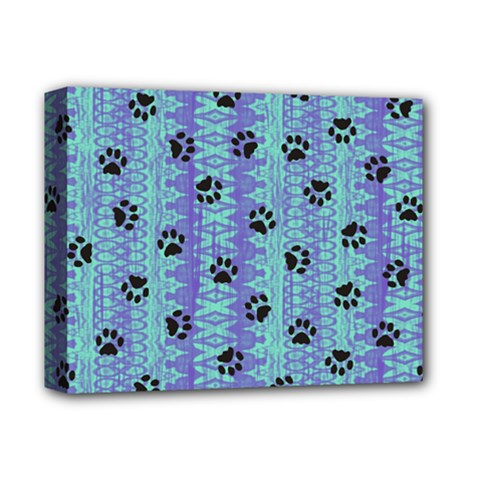 Footprints Cat Black On Batik Pattern Teal Violet Deluxe Canvas 14  X 11