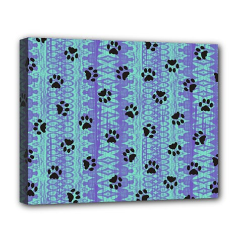 Footprints Cat Black On Batik Pattern Teal Violet Deluxe Canvas 20  X 16
