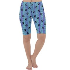 Footprints Cat Black On Batik Pattern Teal Violet Cropped Leggings