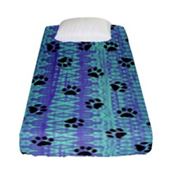 Footprints Cat Black On Batik Pattern Teal Violet Fitted Sheet (single Size) by EDDArt