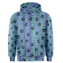 Footprints Cat Black On Batik Pattern Teal Violet Men s Pullover Hoodie