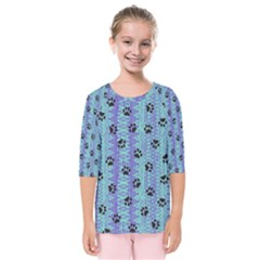 Footprints Cat Black On Batik Pattern Teal Violet Kids  Quarter Sleeve Raglan Tee