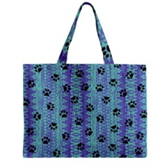Footprints Cat Black On Batik Pattern Teal Violet Zipper Mini Tote Bag by EDDArt