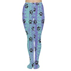 Footprints Cat Black On Batik Pattern Teal Violet Women s Tights
