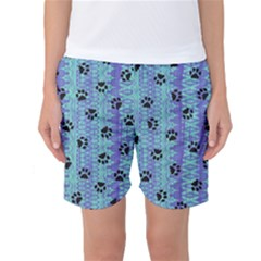 Footprints Cat Black On Batik Pattern Teal Violet Women s Basketball Shorts