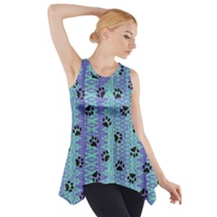 Footprints Cat Black On Batik Pattern Teal Violet Side Drop Tank Tunic