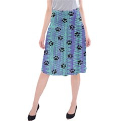 Footprints Cat Black On Batik Pattern Teal Violet Midi Beach Skirt