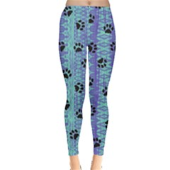 Footprints Cat Black On Batik Pattern Teal Violet Leggings