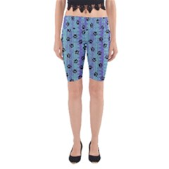 Footprints Cat Black On Batik Pattern Teal Violet Yoga Cropped Leggings