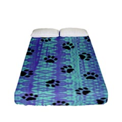 Footprints Cat Black On Batik Pattern Teal Violet Fitted Sheet (full/ Double Size) by EDDArt