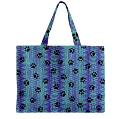 Footprints Cat Black On Batik Pattern Teal Violet Medium Tote Bag by EDDArt