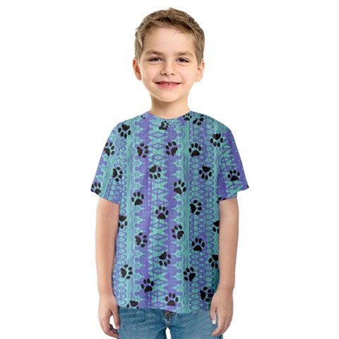 Footprints Cat Black On Batik Pattern Teal Violet Kids  Sport Mesh Tee by EDDArt