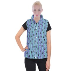 Footprints Cat Black On Batik Pattern Teal Violet Women s Button Up Vest by EDDArt