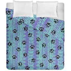 Footprints Cat Black On Batik Pattern Teal Violet Duvet Cover Double Side (california King Size) by EDDArt