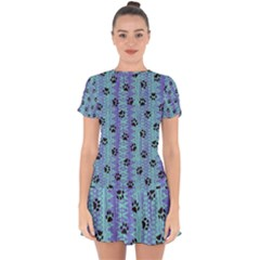 Footprints Cat Black On Batik Pattern Teal Violet Drop Hem Mini Chiffon Dress by EDDArt