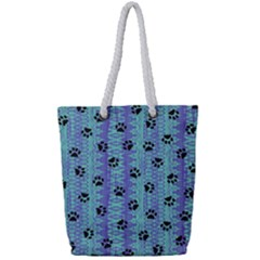 Footprints Cat Black On Batik Pattern Teal Violet Full Print Rope Handle Tote (small) by EDDArt