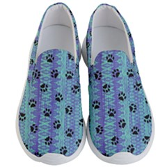 Footprints Cat Black On Batik Pattern Teal Violet Men s Lightweight Slip Ons by EDDArt