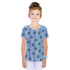Footprints Cat Black On Batik Pattern Teal Violet Kids  One Piece Tee by EDDArt