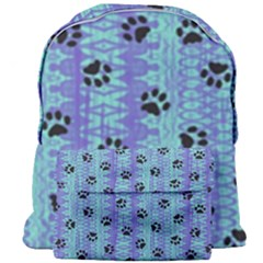 Footprints Cat Black On Batik Pattern Teal Violet Giant Full Print Backpack by EDDArt