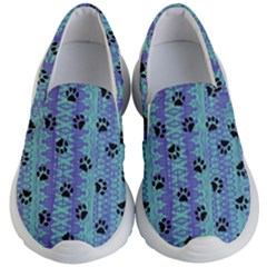 Footprints Cat Black On Batik Pattern Teal Violet Kid s Lightweight Slip Ons by EDDArt