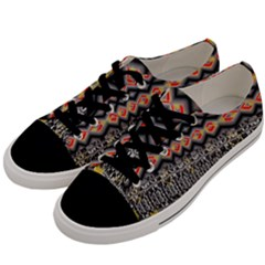 Red And Geometric Designs Created By Flipstylez Designs Men s Low Top Canvas Sneakers by flipstylezdes