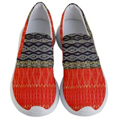 Creative Red And Black Geometric Design  Women s Lightweight Slip Ons by flipstylezdes