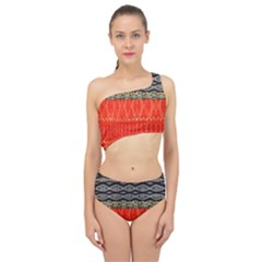 Creative Red And Black Geometric Design  Spliced Up Two Piece Swimsuit